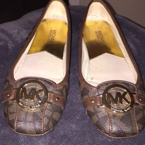 MK Signature Brown Flats with Gold  MK Buckle